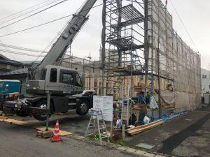 新潟市の中心部で上棟です。